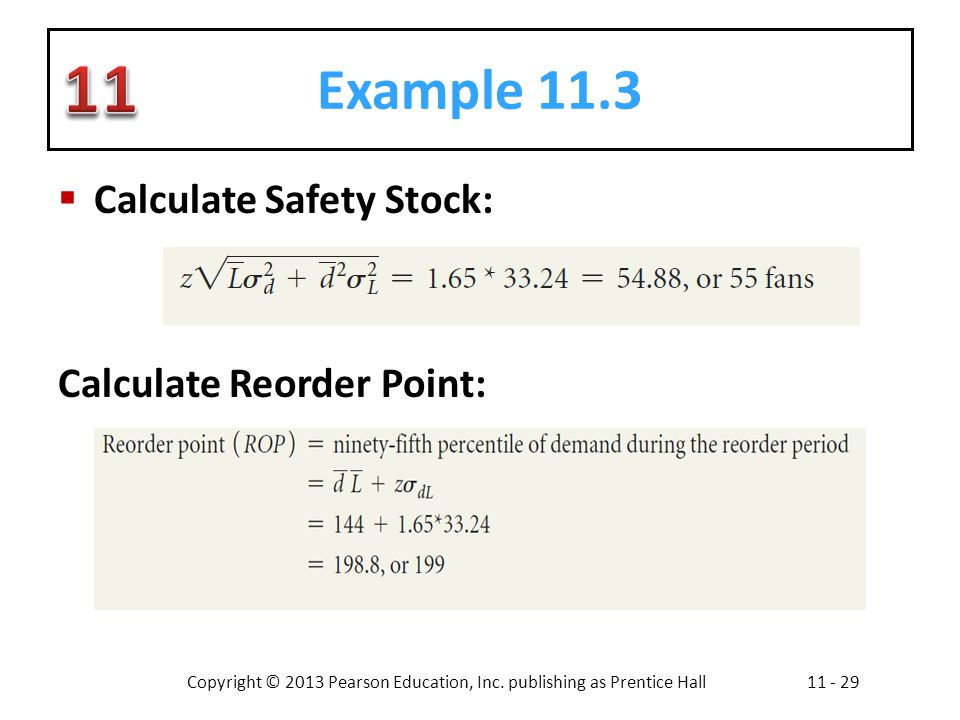 Example 11.3 Calculate Safety Stock: Calculate Reorder Point: