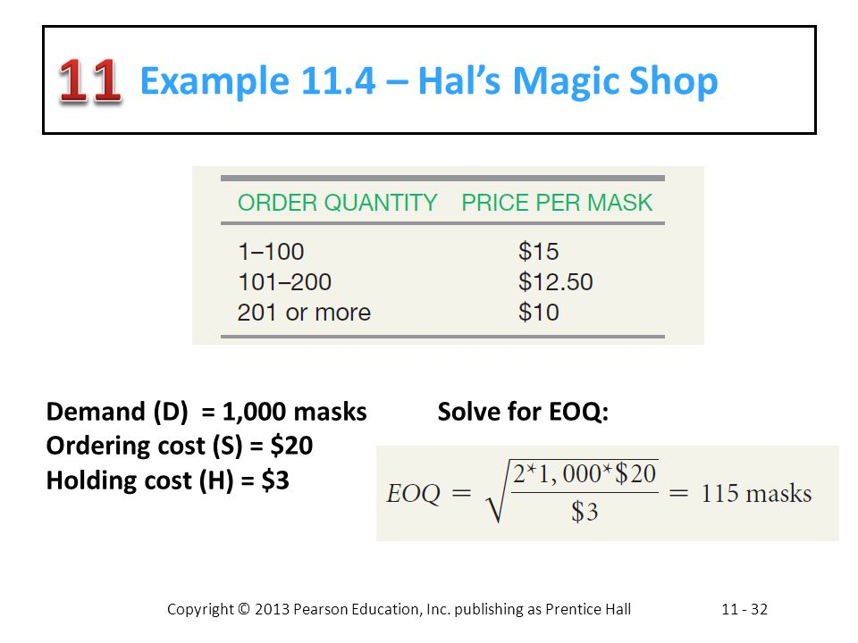Example 11.4 – Hal's Magic Shop