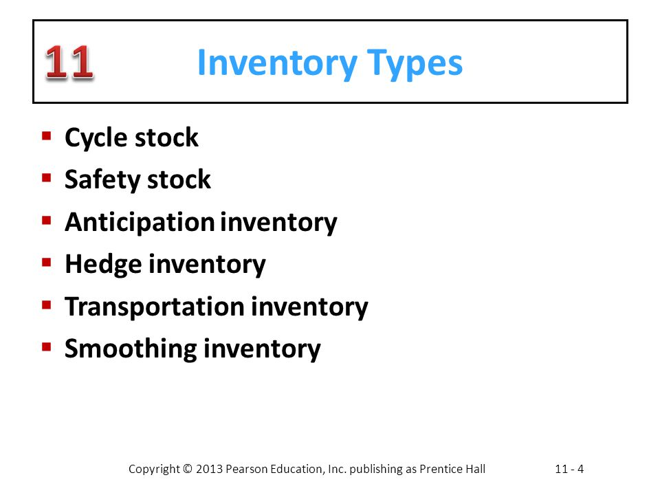 Inventory Types Cycle stock Safety stock Anticipation inventory