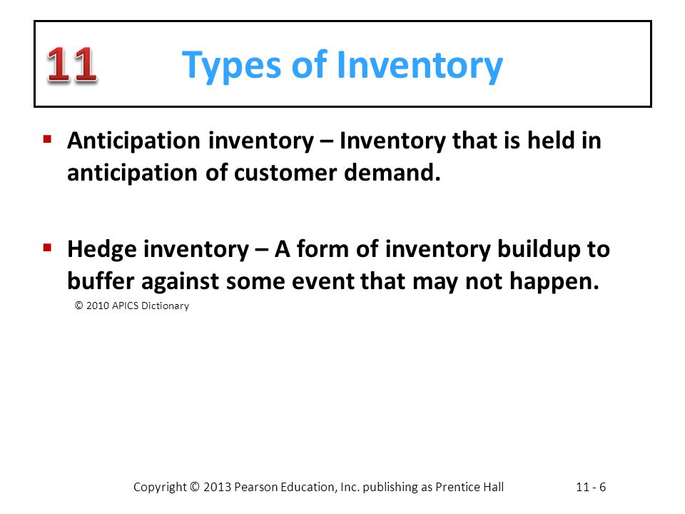 Types of Inventory Anticipation inventory – Inventory that is held in anticipation of customer demand.