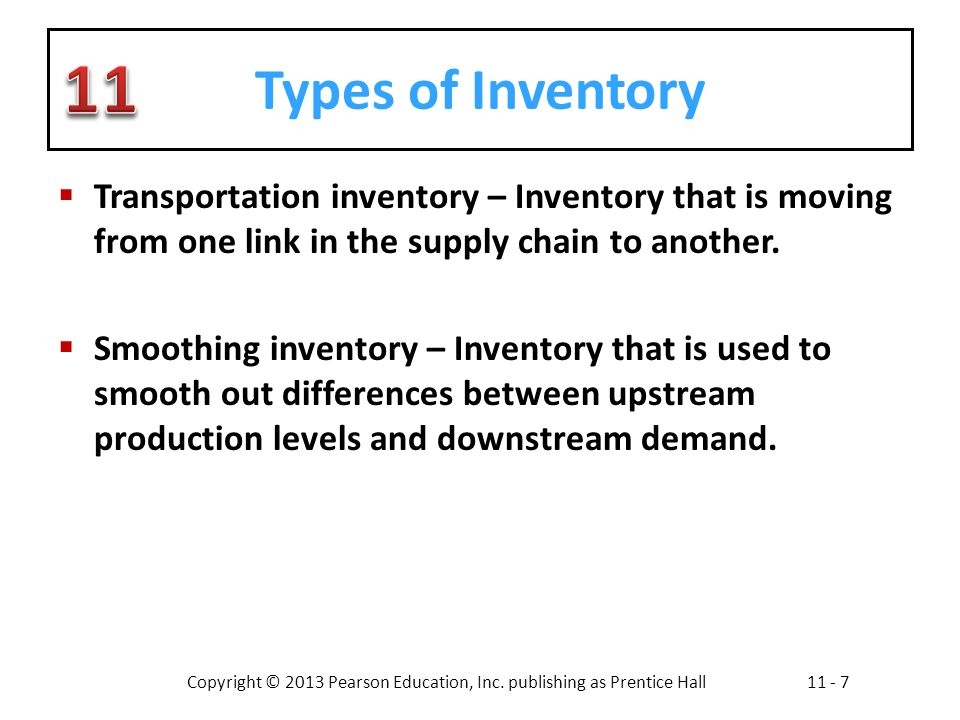 Types of Inventory Transportation inventory – Inventory that is moving from one link in the supply chain to another.