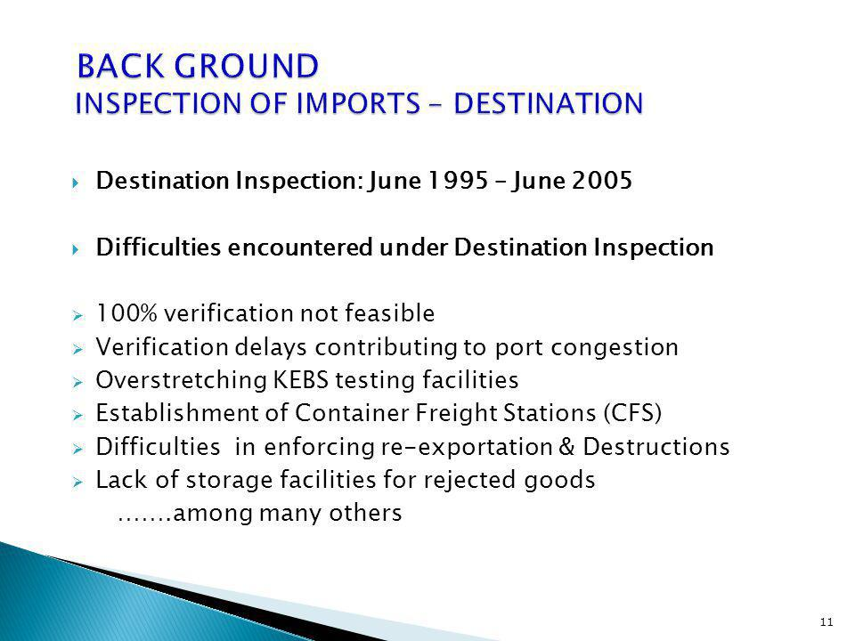 BACK GROUND INSPECTION OF IMPORTS - DESTINATION