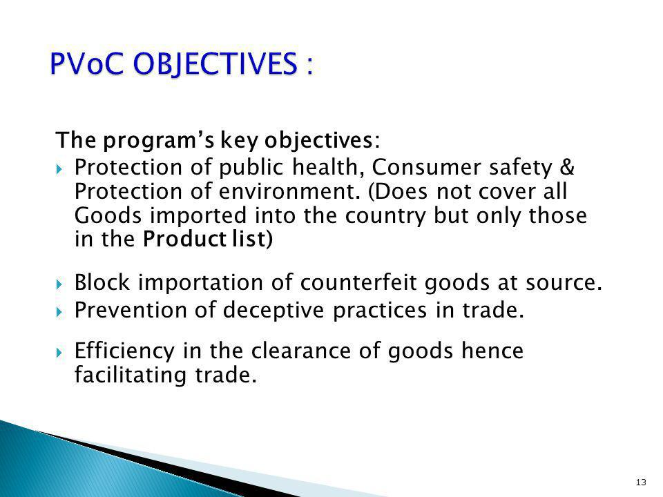 PVoC OBJECTIVES : The program's key objectives: