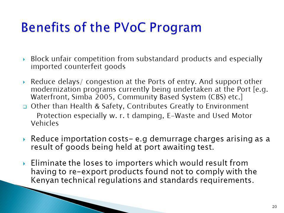 Benefits of the PVoC Program