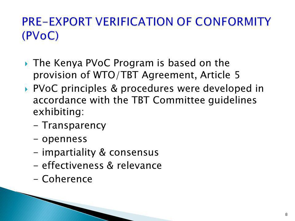 PRE-EXPORT VERIFICATION OF CONFORMITY (PVoC)
