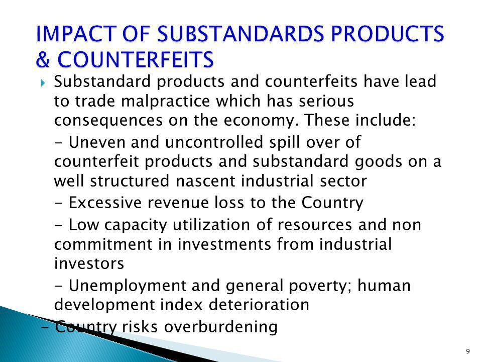 IMPACT OF SUBSTANDARDS PRODUCTS & COUNTERFEITS