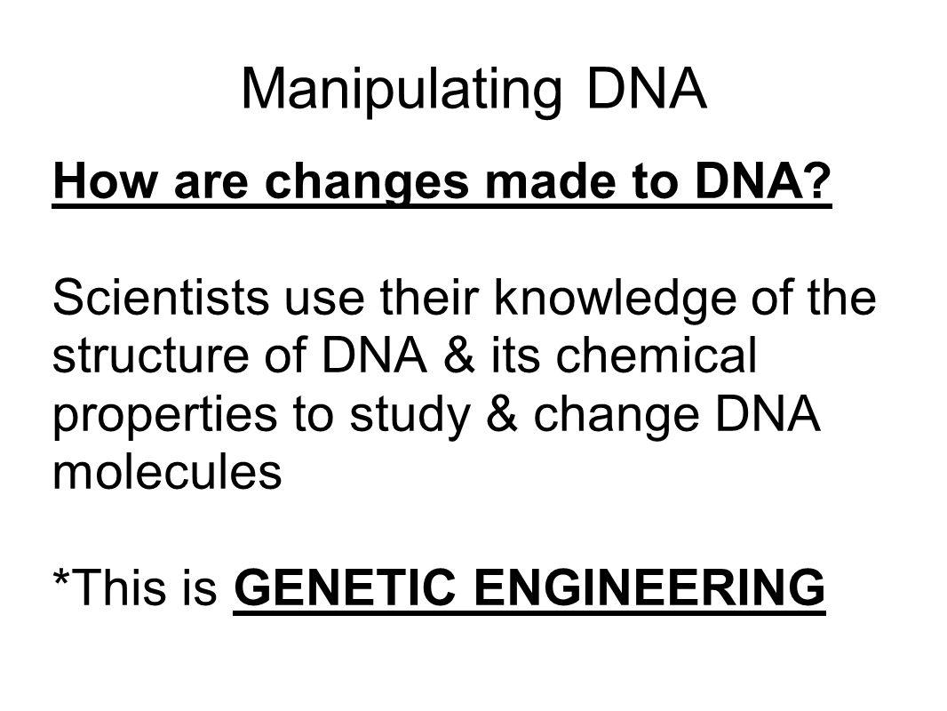 Manipulating DNA How are changes made to DNA