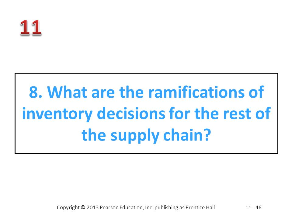 8. What are the ramifications of inventory decisions for the rest of the supply chain