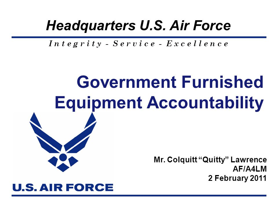 Government Furnished Equipment Accountability