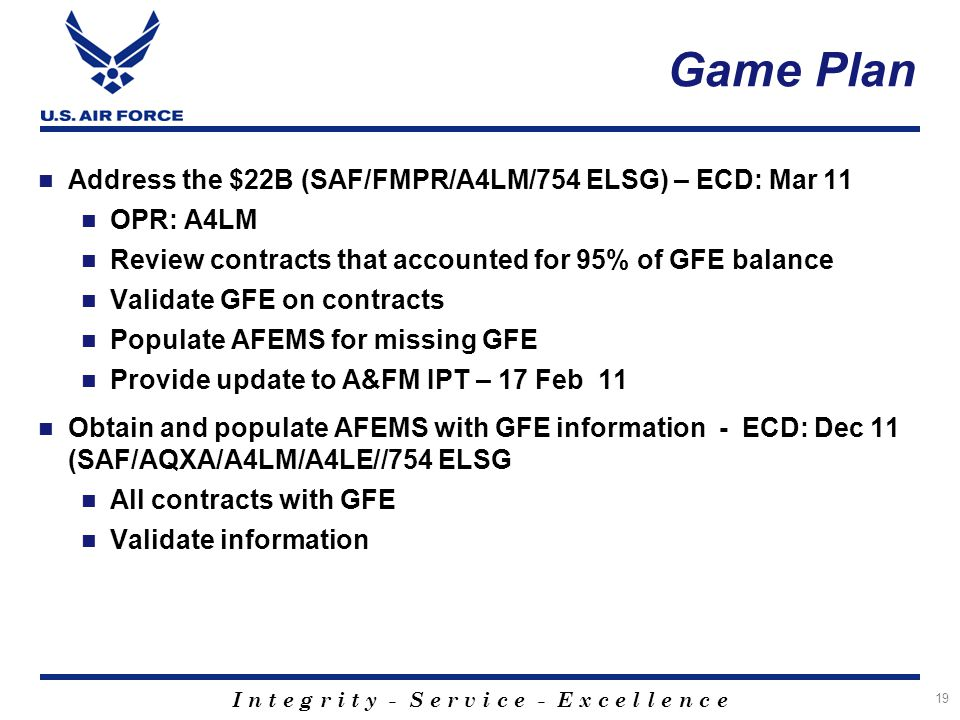 Game Plan Address the $22B (SAF/FMPR/A4LM/754 ELSG) – ECD: Mar 11