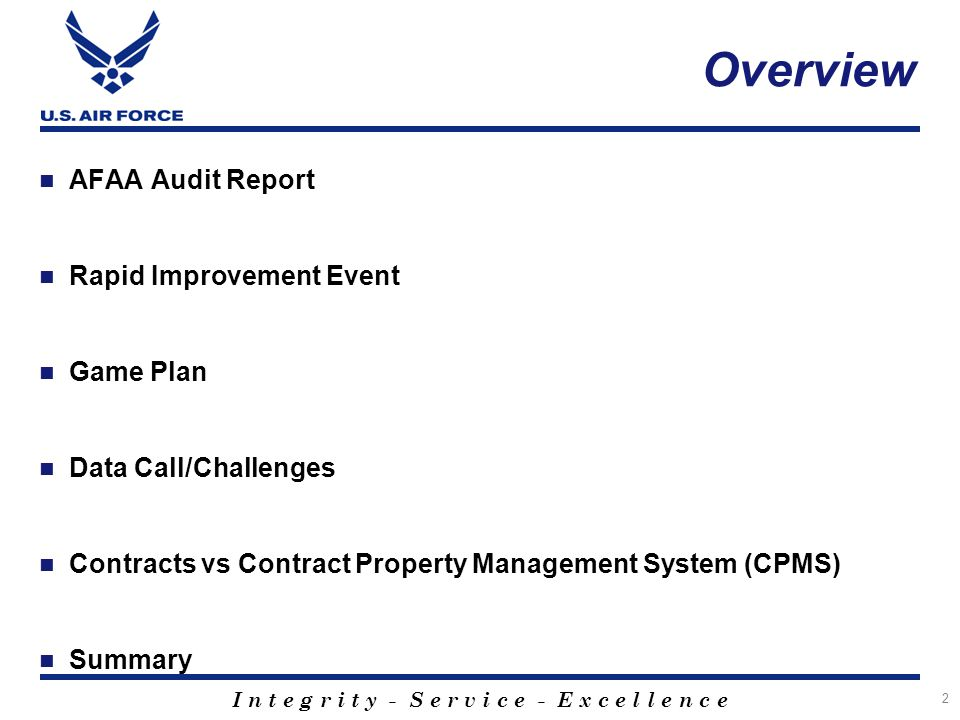 Overview AFAA Audit Report Rapid Improvement Event Game Plan