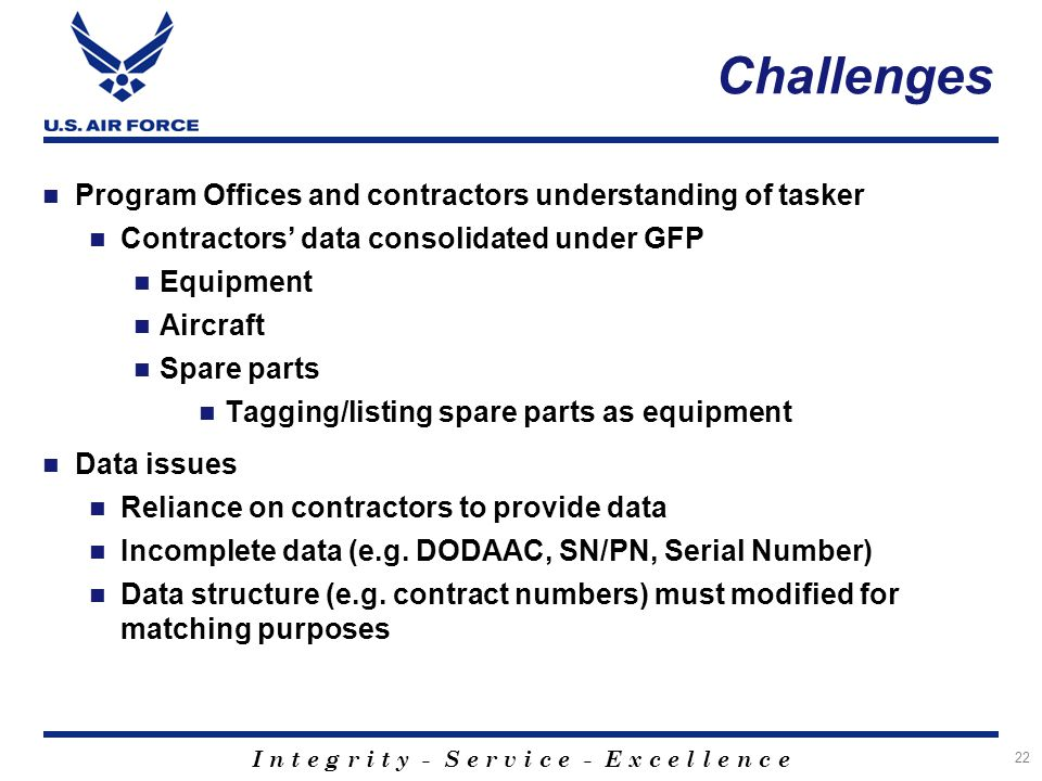 Challenges Program Offices and contractors understanding of tasker
