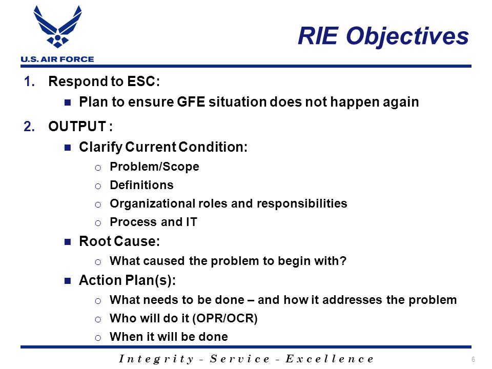 RIE Objectives Respond to ESC: