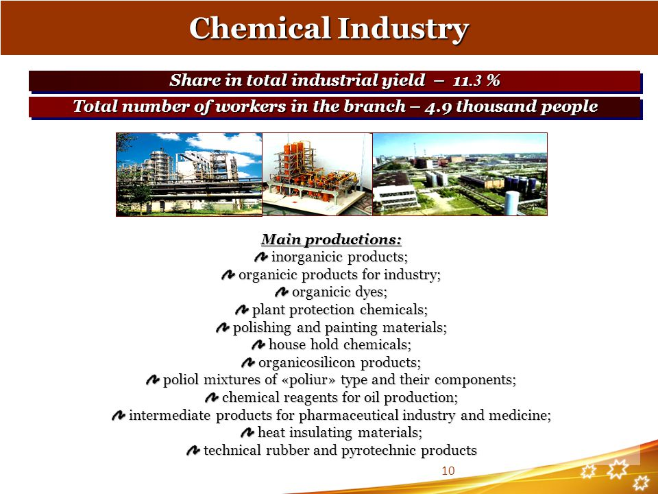 Chemical Industry Share in total industrial yield – 11.3 %