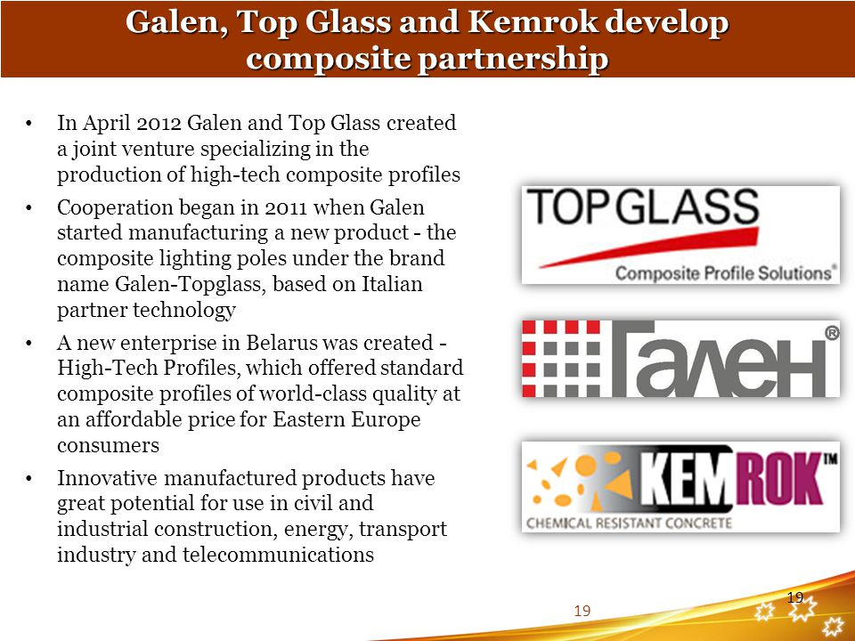 Galen, Top Glass and Kemrok develop composite partnership