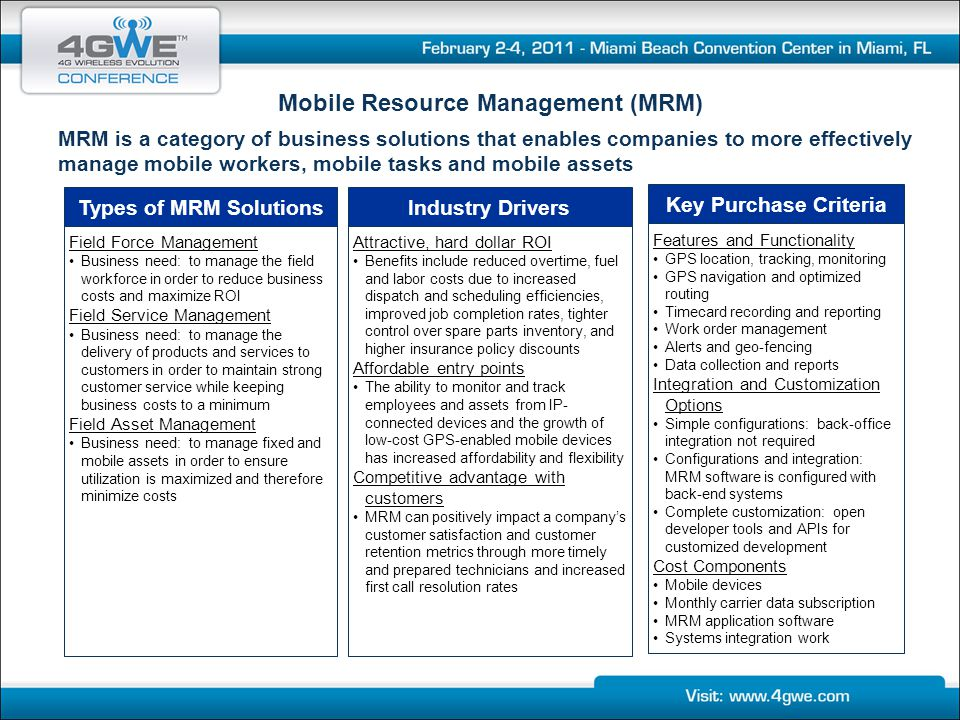 Mobile Resource Management (MRM)