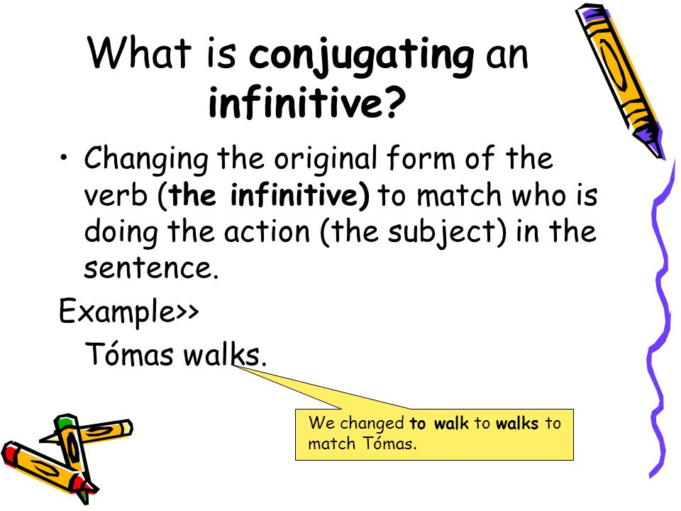 What is conjugating an infinitive