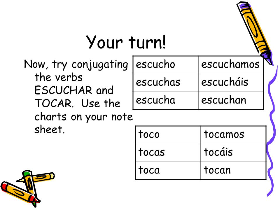 Your turn! Now, try conjugating the verbs ESCUCHAR and TOCAR. Use the charts on your note sheet. escucho.