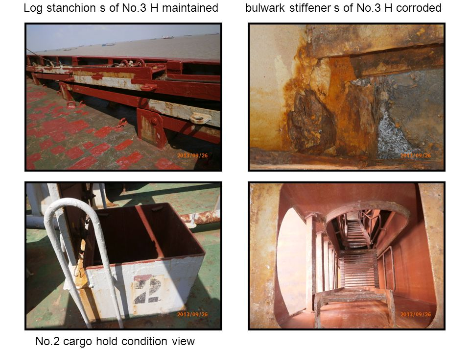 Log stanchion s of No. 3 H maintained bulwark stiffener s of No