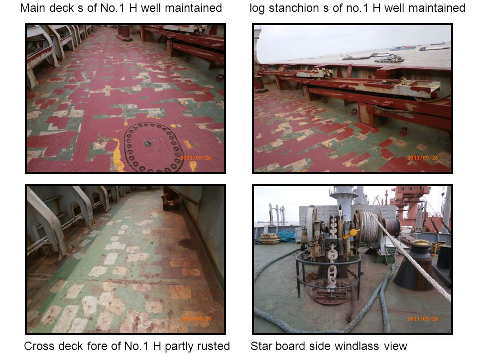 Main deck s of No. 1 H well maintained log stanchion s of no