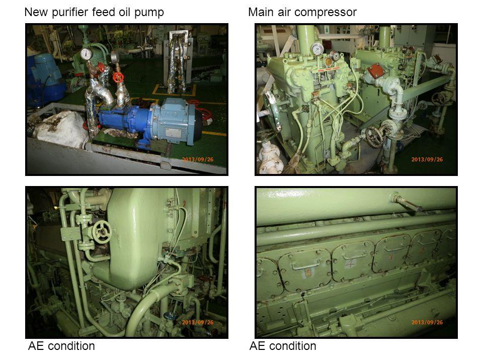New purifier feed oil pump Main air compressor