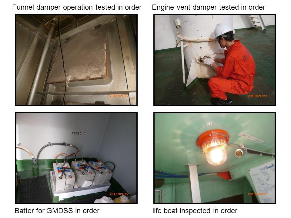 Funnel damper operation tested in order Engine vent damper tested in order