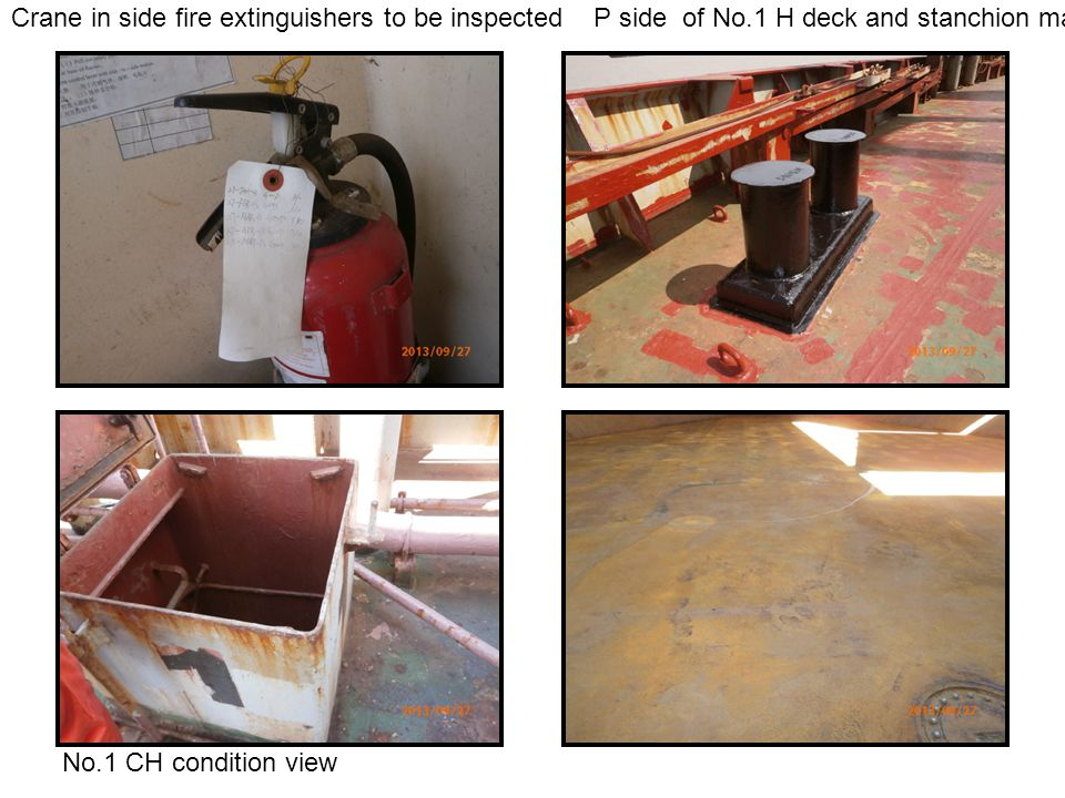 Crane in side fire extinguishers to be inspected P side of No