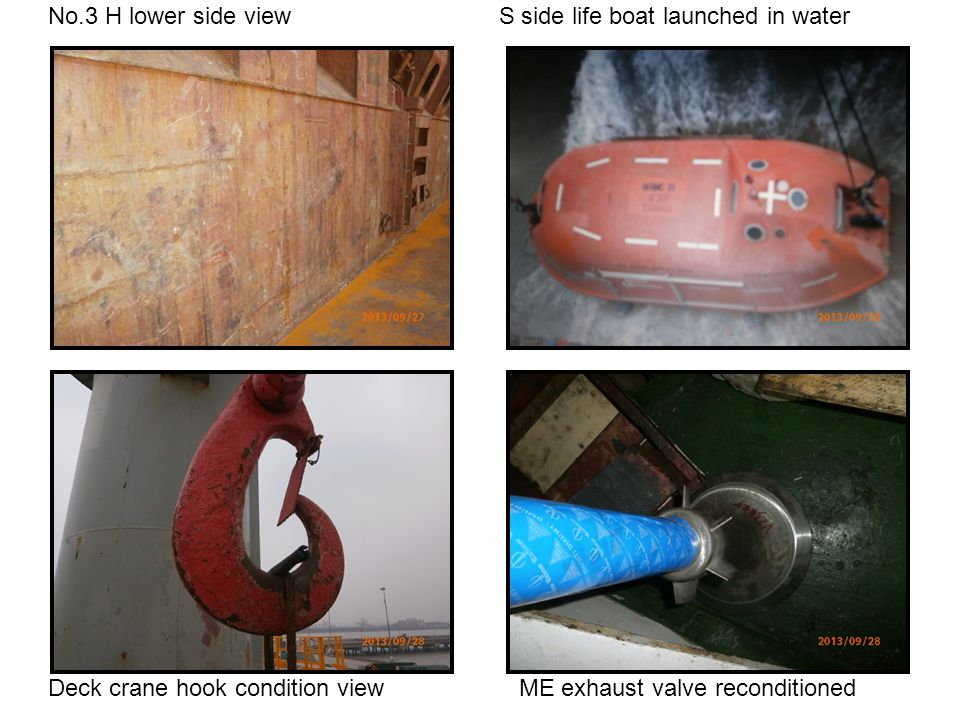 No.3 H lower side view S side life boat launched in water