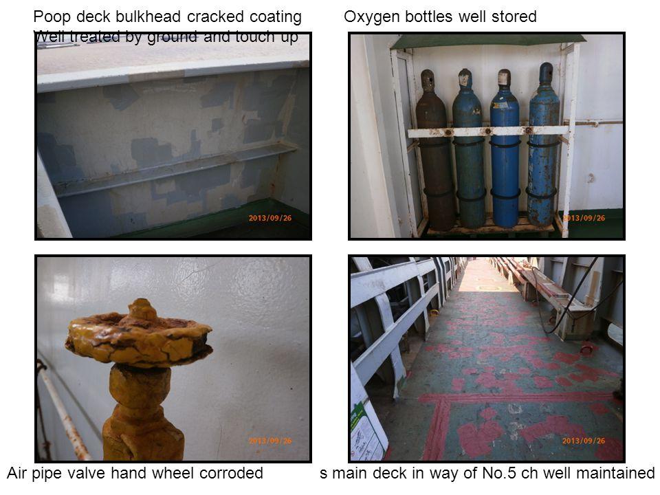 Poop deck bulkhead cracked coating Oxygen bottles well stored