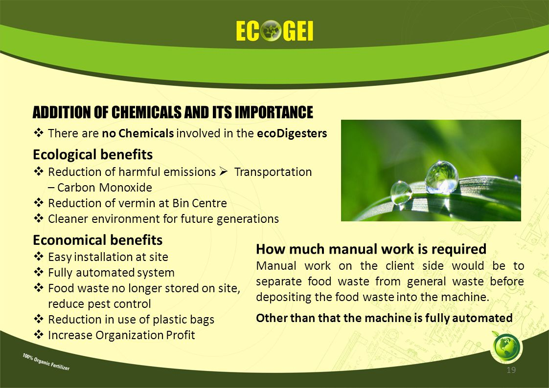 ADDITION OF CHEMICALS AND ITS IMPORTANCE Ecological benefits