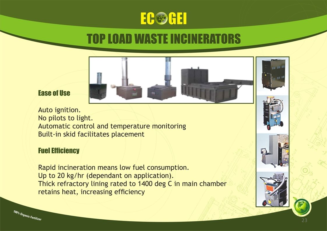 APPLICATION OF ECOGEI/ECO-WIZ ECODIGESTERS IN: