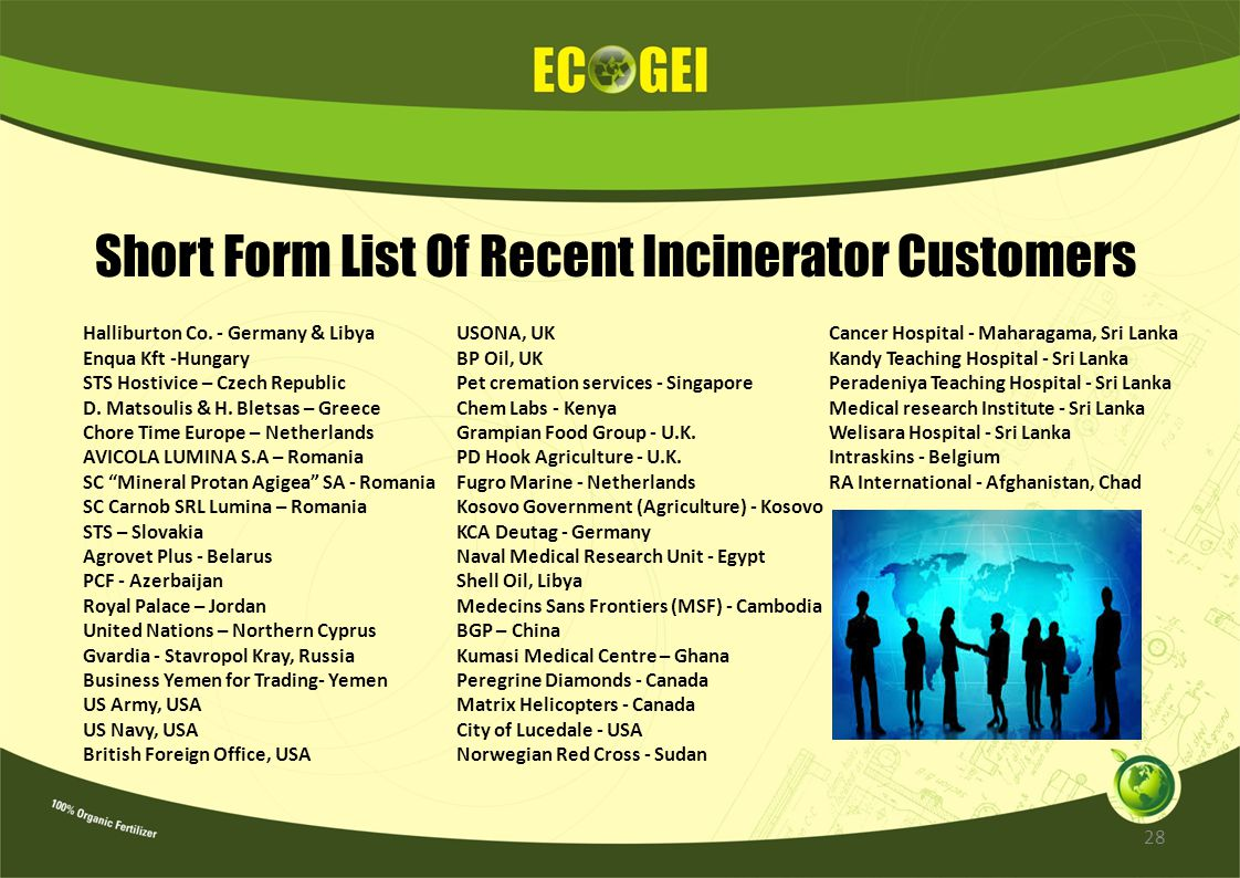 Short Form List Of Recent Incinerator Customers