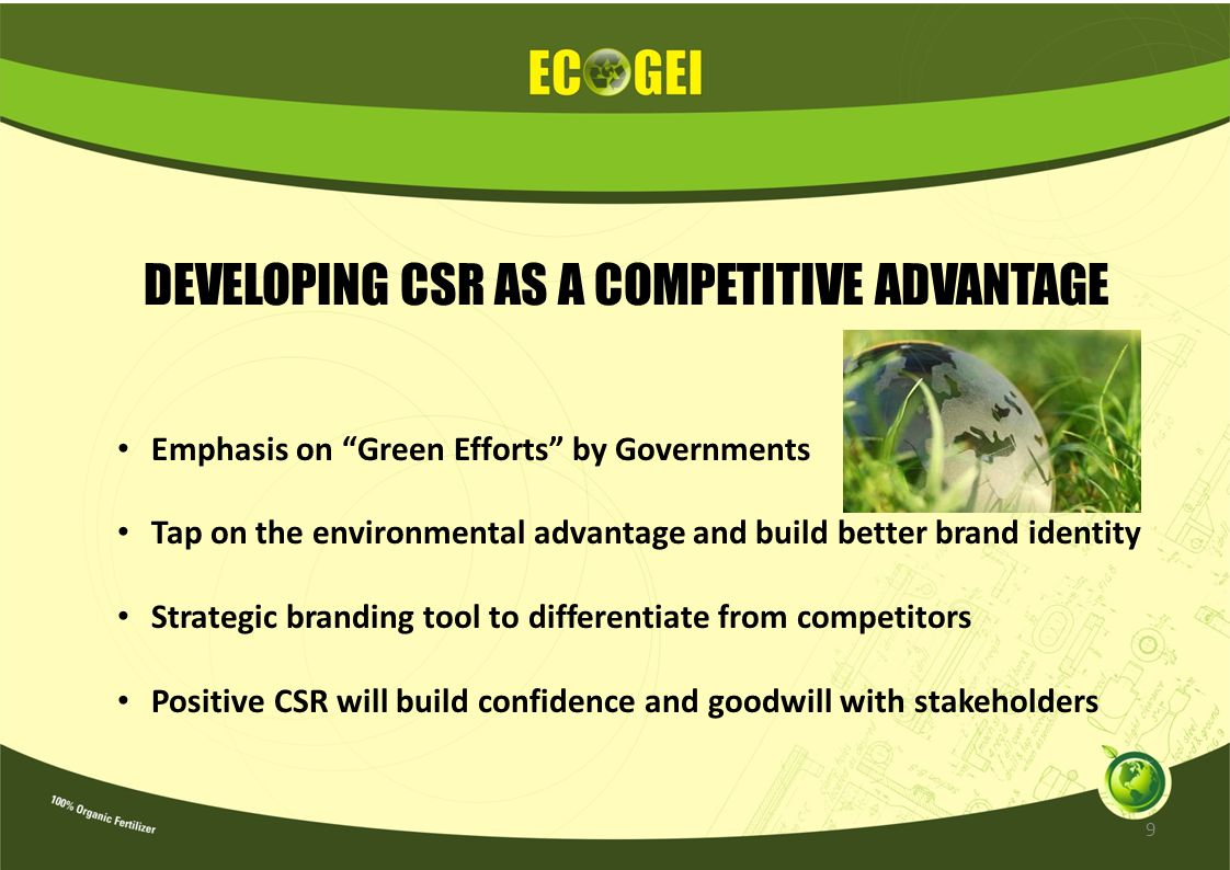 DEVELOPING CSR AS A COMPETITIVE ADVANTAGE