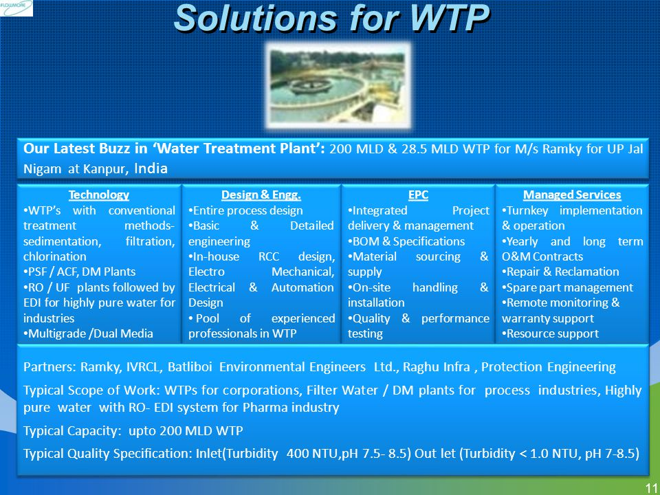 Solutions for WTP Our Latest Buzz in 'Water Treatment Plant': 200 MLD & 28.5 MLD WTP for M/s Ramky for UP Jal Nigam at Kanpur, India.