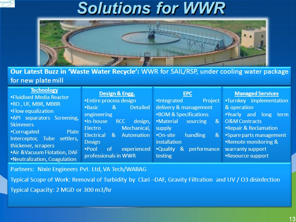 Solutions for WWR Our Latest Buzz in 'Waste Water Recycle': WWR for SAIL/RSP, under cooling water package for new plate mill.