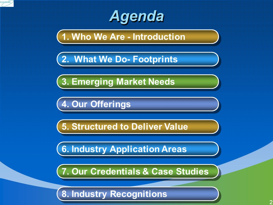 Agenda 1. Who We Are - Introduction 2. What We Do- Footprints
