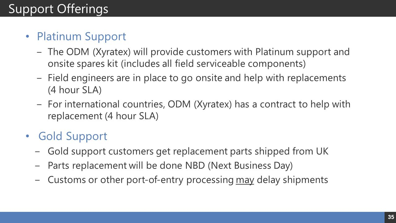 Support Offerings Platinum Support Gold Support