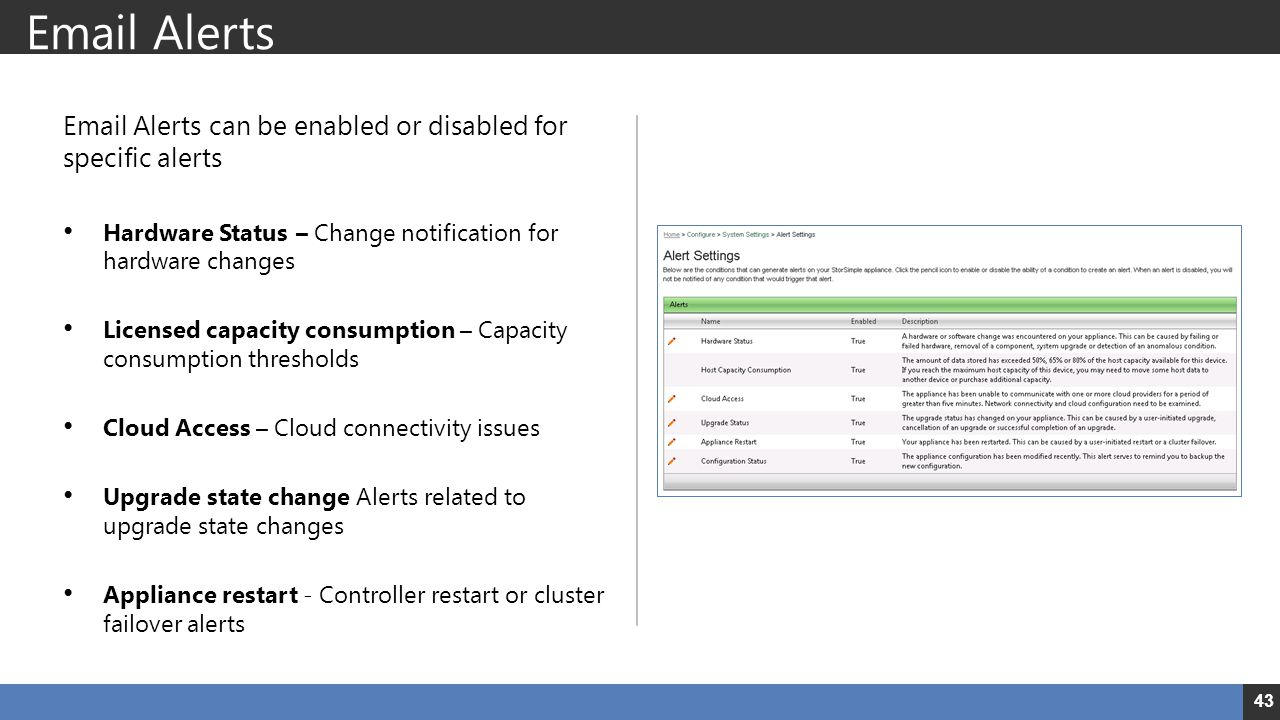 Email Alerts Email Alerts can be enabled or disabled for specific alerts. Hardware Status – Change notification for hardware changes.