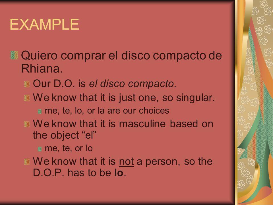 EXAMPLE Quiero comprar el disco compacto de Rhiana.