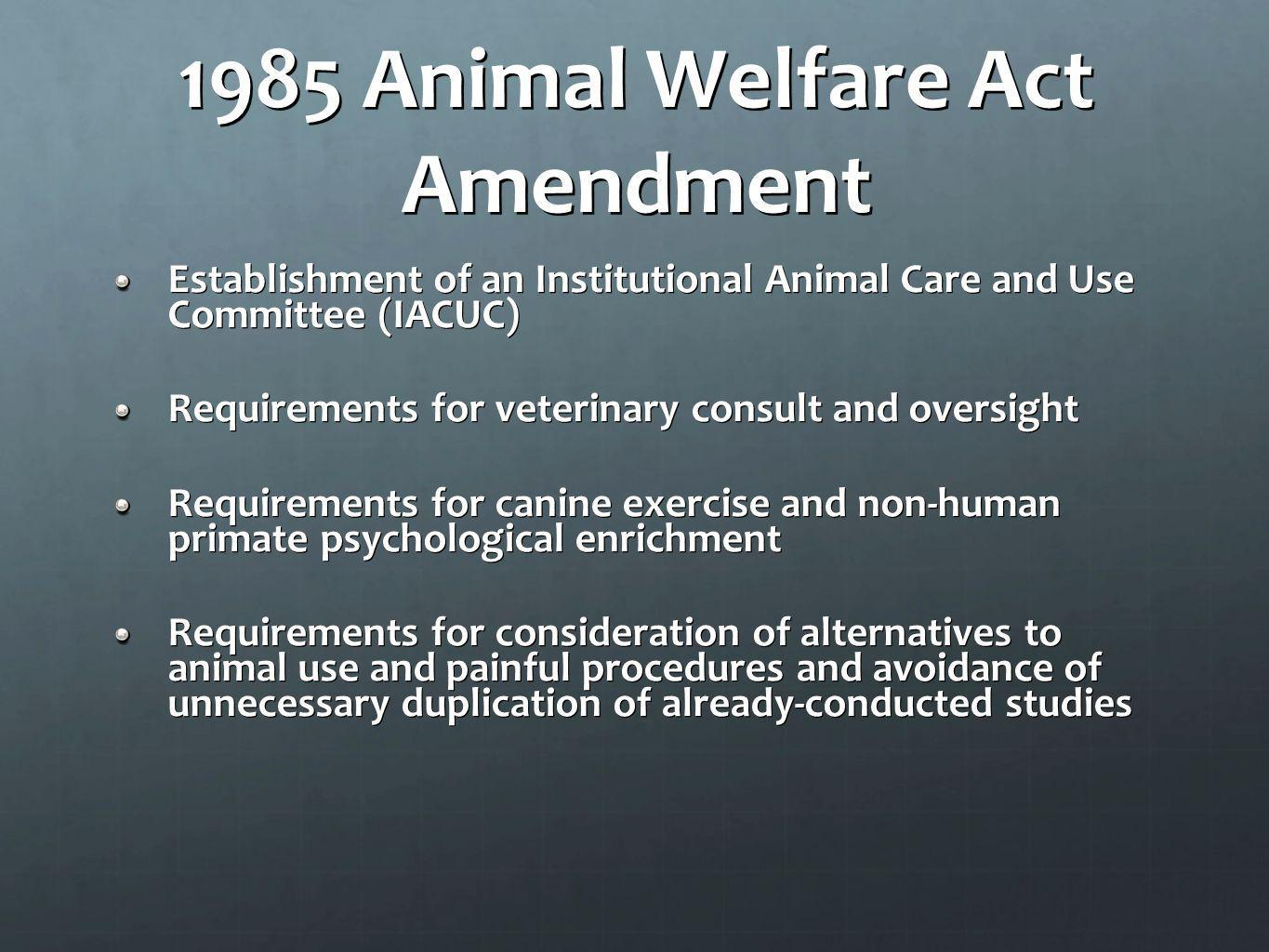 1985 Animal Welfare Act Amendment