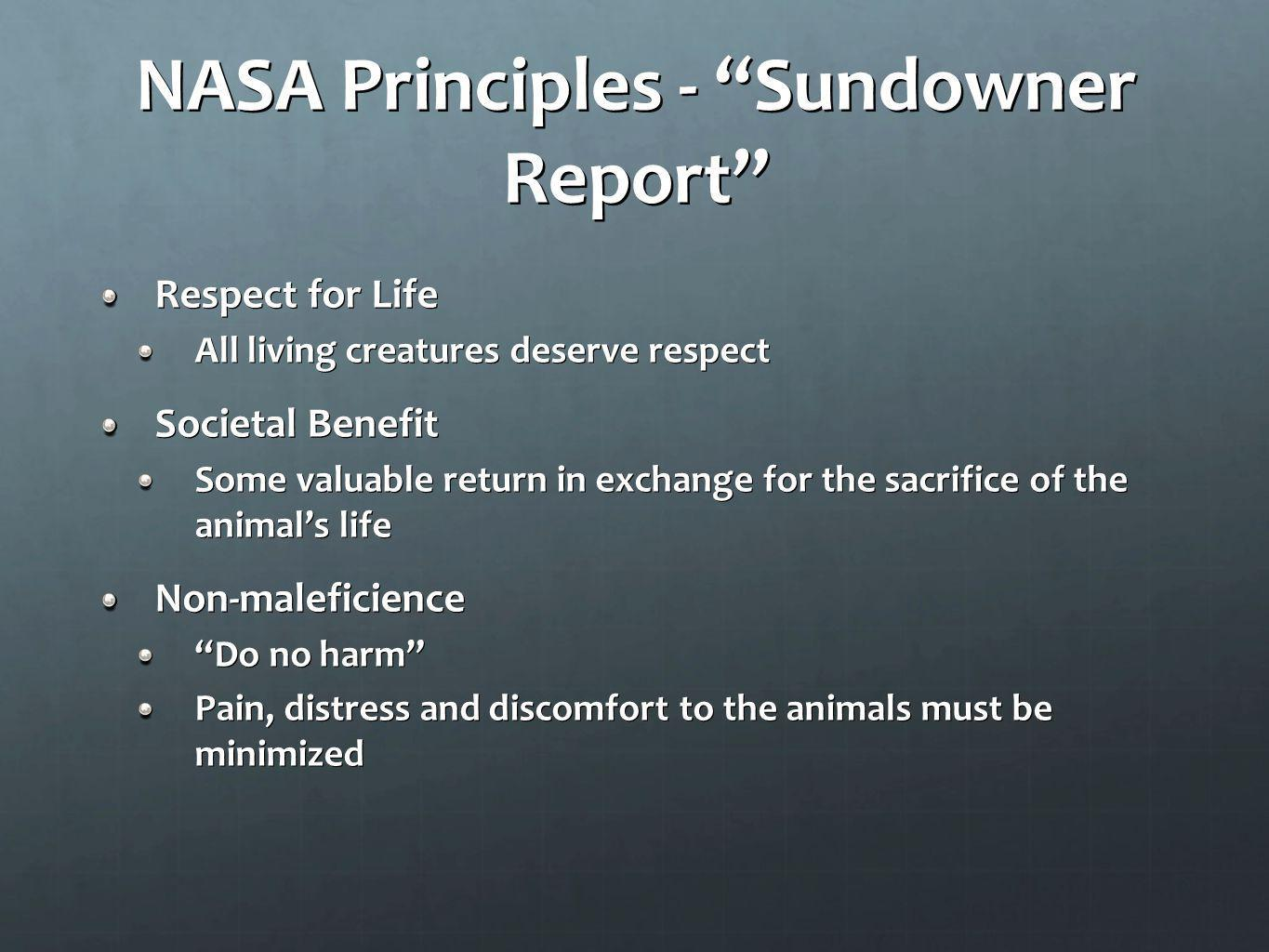 NASA Principles - Sundowner Report