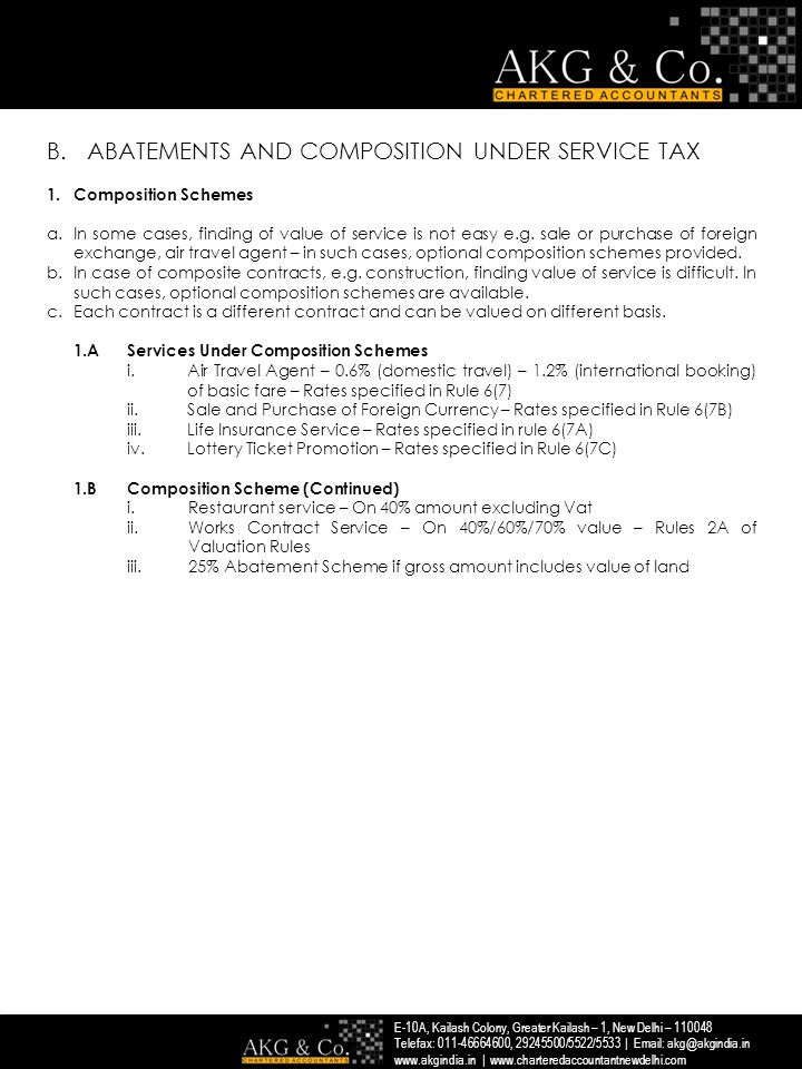 ABATEMENTS AND COMPOSITION UNDER SERVICE TAX