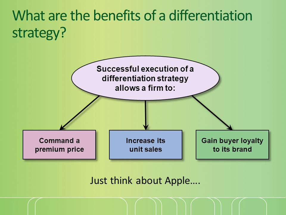 What are the benefits of a differentiation strategy