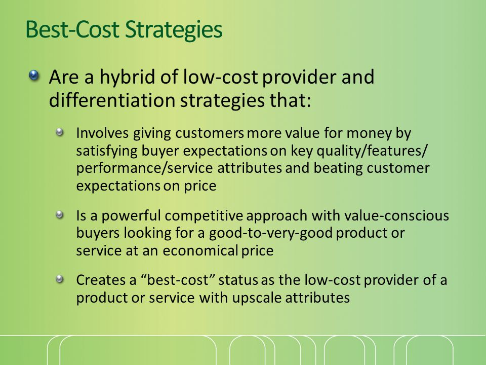 Best-Cost Strategies Are a hybrid of low-cost provider and differentiation strategies that: