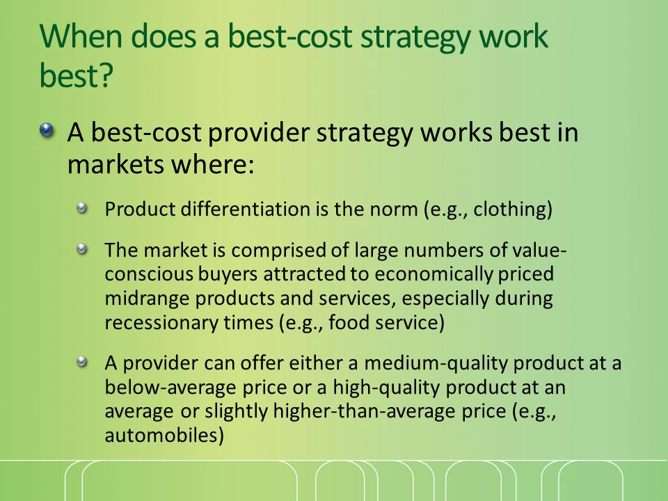 When does a best-cost strategy work best