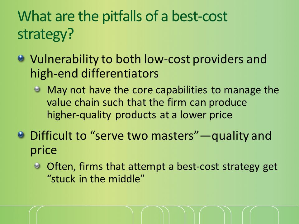 What are the pitfalls of a best-cost strategy