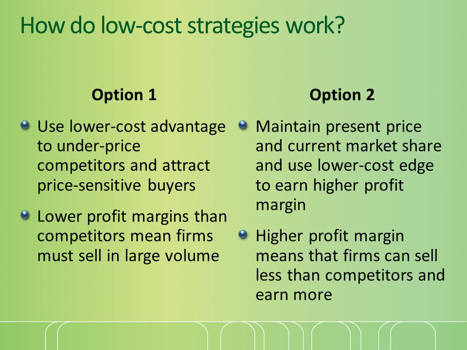How do low-cost strategies work