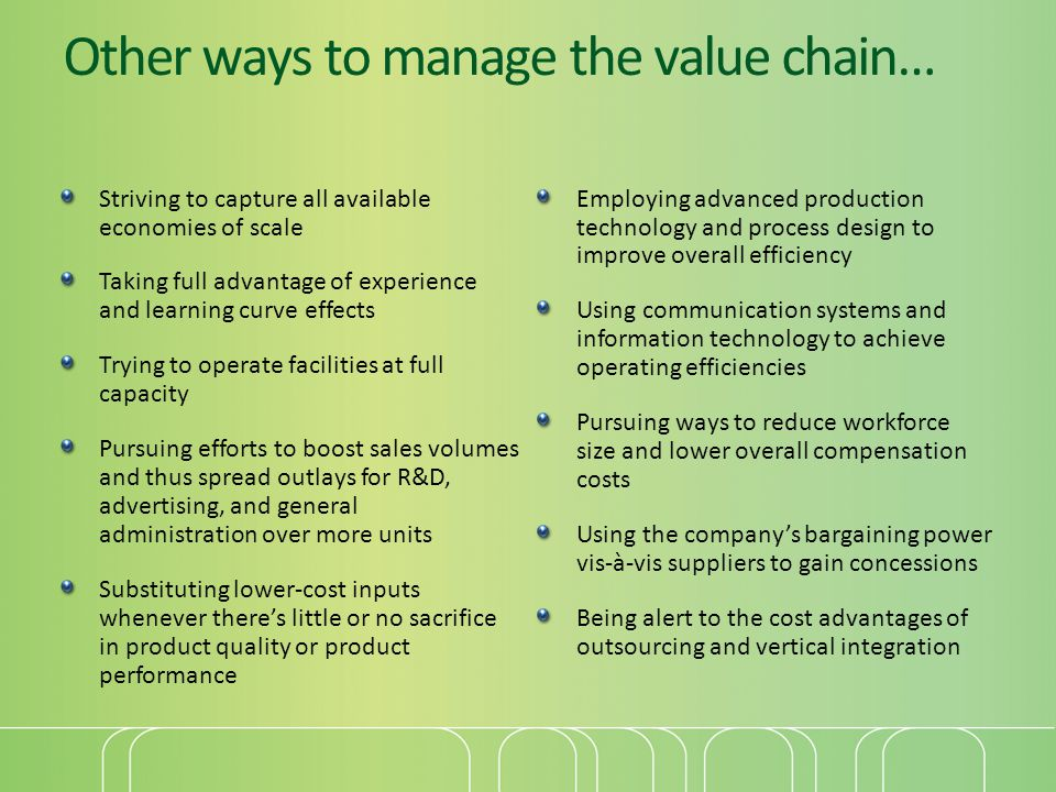 Other ways to manage the value chain…