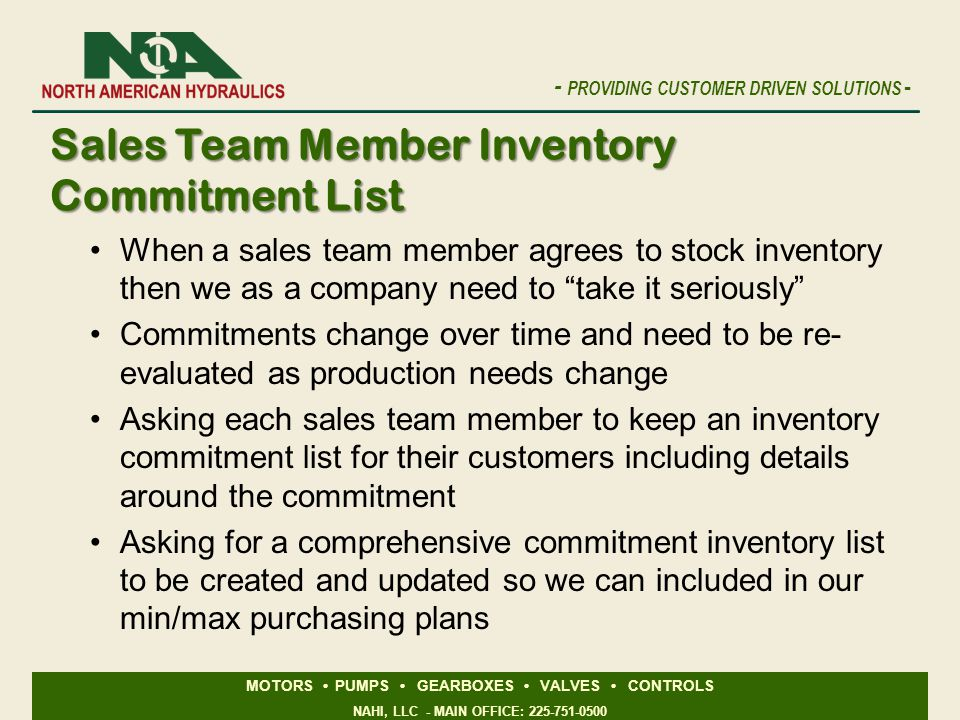 Sales Team Member Inventory Commitment List
