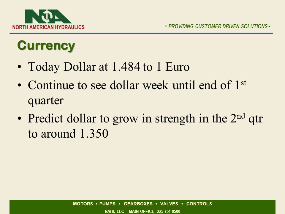 Currency Today Dollar at 1.484 to 1 Euro. Continue to see dollar week until end of 1st quarter.